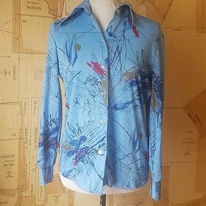 1970s Abstract Painting Blouse
